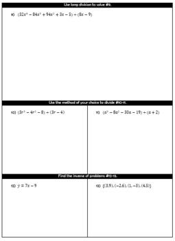 Algebra 2 - Unit 2 Polynomial Operations Study Guide