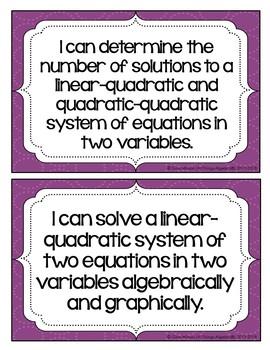 "Algebra II: Virginia SOL ""I Can"" Statements"