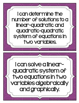 "2016 Algebra 2 Virginia SOL: ""I Can"" Statements"