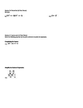 Algebra II quiz