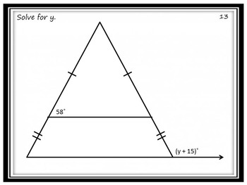 Algebra In Geometry Task Cards: Solving to Find Missing Angle Measures