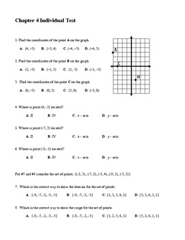 Algebra Individual Multiple Choice Test: Unit 4 - Functions and Their Graphs