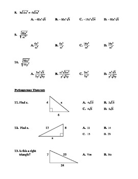 Algebra Individual Multiple Choice Test: Unit 9 - Radical Expressions