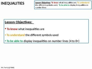 Algebra: Inequalities 1 - Writing in words and on a Number Line
