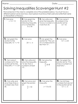 Inequality Activities: Graphing and Solving Inequalities Scavenger Hunt