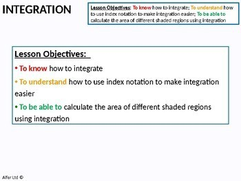 Algebra: Integration 2 - Finding an Area (+ worksheet)