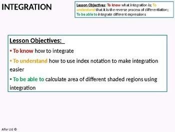 Algebra: Integration 3 - Area Problems (+ worksheet)