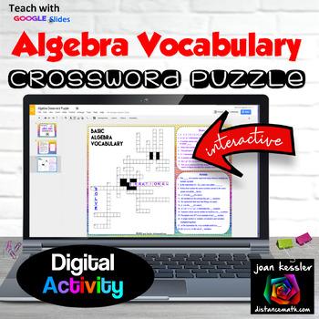 Algebra Interactive Crossword Puzzle with GOOGLE slides™