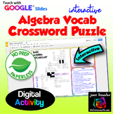 Algebra Interactive Crossword Puzzle with GOOGLE slides™