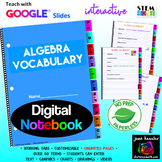 Algebra Vocabulary Interactive Digital Notebook  with GOOGLE