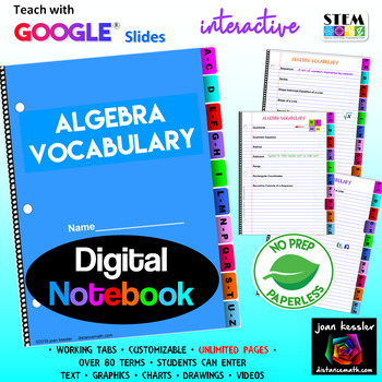 Algebra Vocabulary Interactive Digital Notebook  with GOOGLE