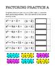Algebra Digital Interactive Math Factoring Practice