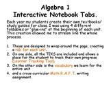Algebra Interactive Notebook Tabs