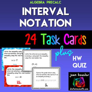 Interval Notation Task Cards plus HW