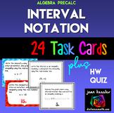 Algebra Interval Notation Task Cards plus HW