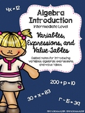 Algebra Introduction: Variables, Algebraic Expressions and Value Tables
