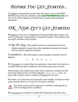 Algebra: Introduction to Algebra