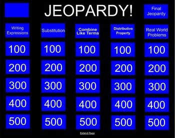 Algebra Jeopardy Review