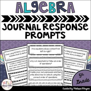 Algebra Math Journal Prompts 5th Grade