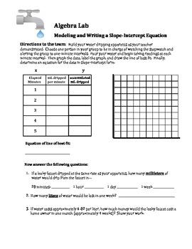 Algebra Lab: Writing a Slope-Intercept Equation Student Investigation