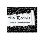 Algebra - Laws of Exponents - Note Packet
