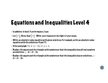 Algebra Learning Goals and Scales