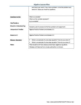 Algebra Lesson Plan - Equations one and two steps