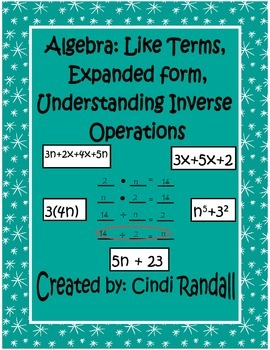 Algebra: Like Terms and Inverse Operations Sample