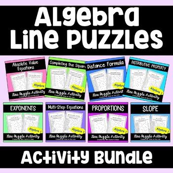 Algebra Line Puzzle Activities - Bundle