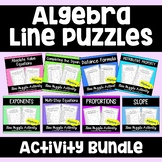 Algebra 1 Line Puzzles Activity Bundle