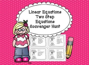 Algebra Linear Equations Two Step Equations Scavenger Hunt