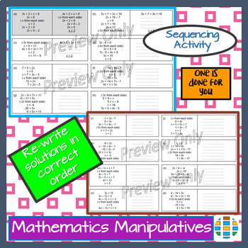 Algebra Linear Equations With X On Both Sides Sequencing Activity