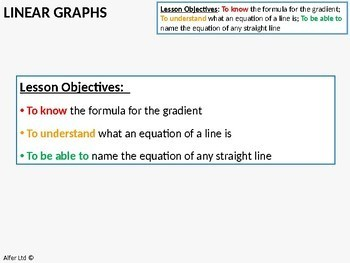 Linear Graphs 3 - Finding the Gradient (+ worksheet)