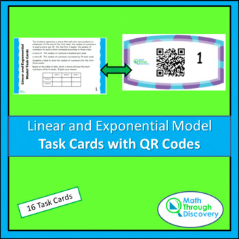 Algebra 1:  Linear and Exponential Model Task Cards with QR Codes