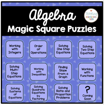 Algebra Magic Square Puzzles {order of operations, solving equations and more}