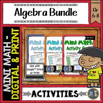 Algebra Math Activities Bundle Google Slides and Printable