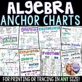 Algebra 1 - Math Anchor Charts for Printing or Tracing