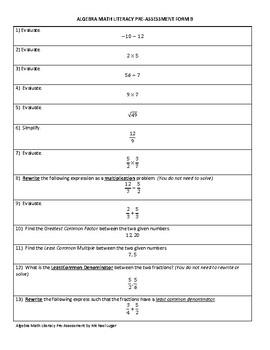 Algebra Math Literacy Pre-Assessment Form B