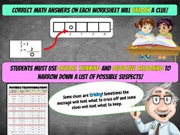Algebra Math Mystery Activity (7th Grade) - Case of The Alien Apocalypse