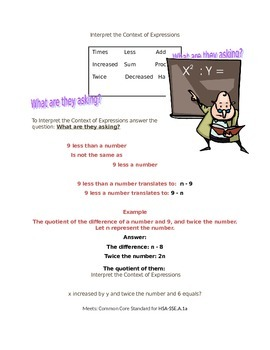 Algebra Math Poster - Interpret the structure of expressions help