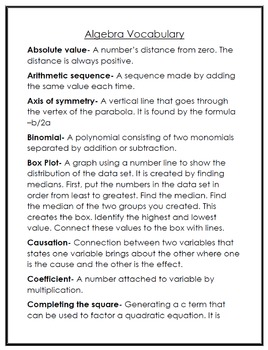 Algebra Math Vocabulary Games with Definitions, Word list and Word cards