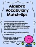 Algebra Vocabulary Match Up Cards