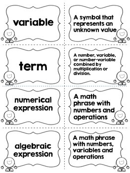 Algebra Vocabulary Match Up Cards