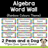 Algebra Math Word Wall Rainbow Theme