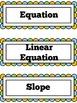 Algebra Math Word Wall Citrus Theme