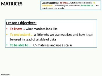 Algebra: Matrices 1 - adding and subtracting matrices plus scalars