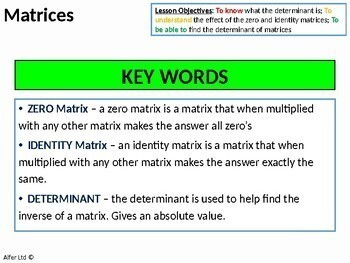 Algebra: Matrices 3 - Zero, Identity Matrix and the Determinant