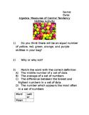Algebra: Measures of Central Tendency Skittles Activity