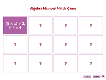 Algebra: Memory Match Game - NOTEBOOK Gr. 3-5