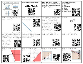 Algebra Mid Year Review Topics 48 QR Code Task Cards